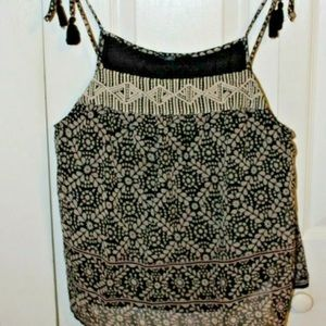 American Eagle Outfitters L Tank Top Black Tan